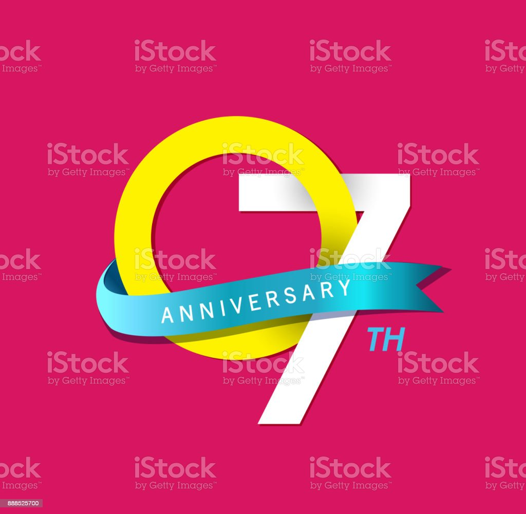 7th Anniversary simple emblems, template design for web, game ,Creative poster, booklet, leaflet, flyer, magazine, invitation card vector art illustration