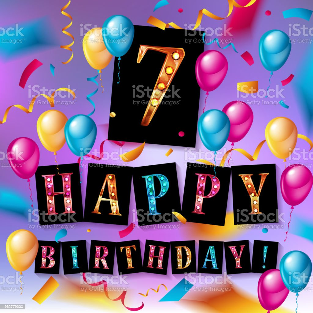7th Birthday Celebration greeting card Design vector art illustration