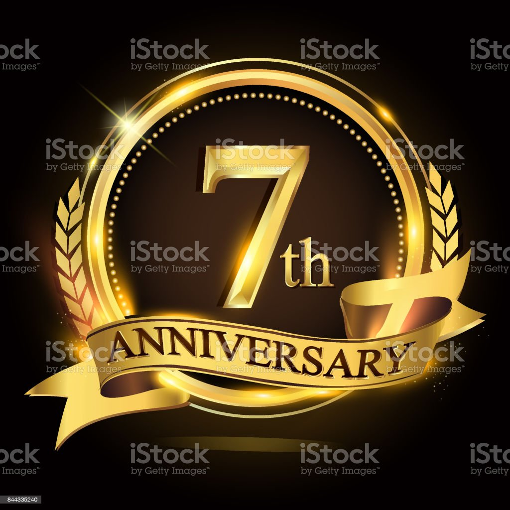 7th golden anniversary icon,  with ring and ribbon, laurel wreath vector design. vector art illustration