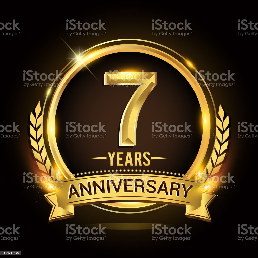 7th golden anniversary icon, with shiny ring and gold ribbon, laurel wreath isolated on black background, vector design vector art illustration