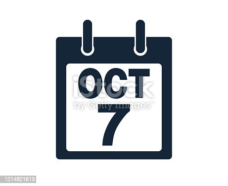 istock 7th October Calendar Icon Stock Vector Illustration 1214821613