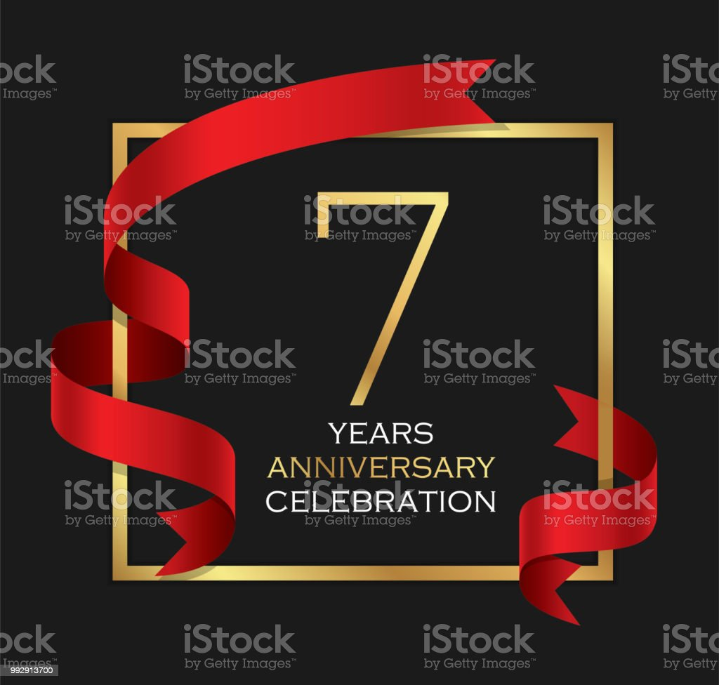 7th years anniversary celebration background vector art illustration