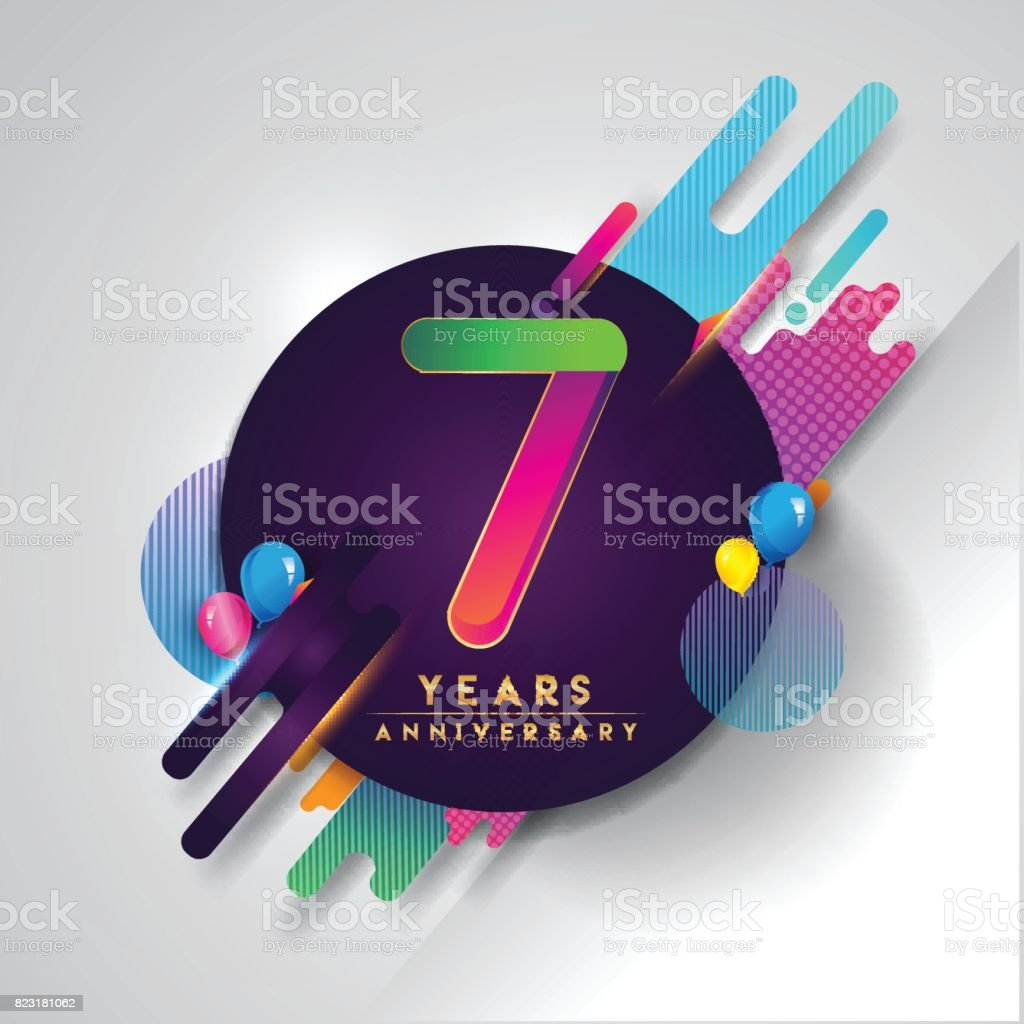 7th years Anniversary symbol with colorful abstract background vector art illustration