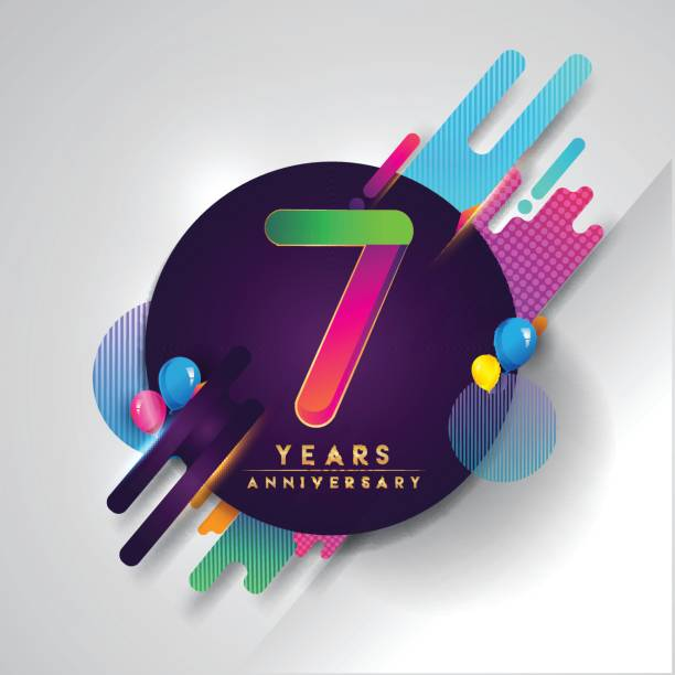 Royalty Free Happy 7th Anniversary Clip Art Vector Images