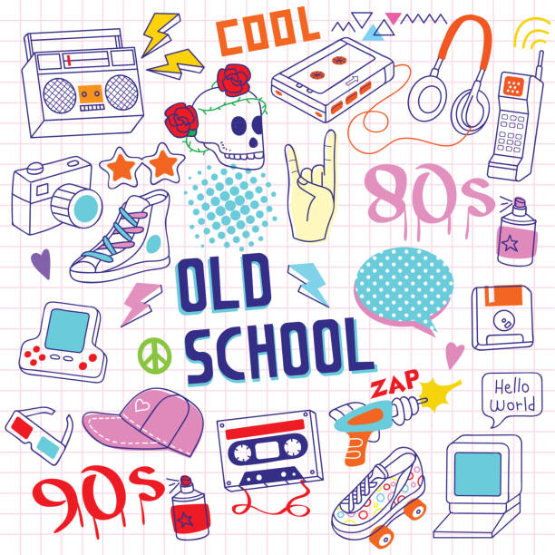 80s - 90s Handrawn Doodle Objects Set of 80s - 90s doodle hand drawing objects on paper. backgrounds clipart stock illustrations