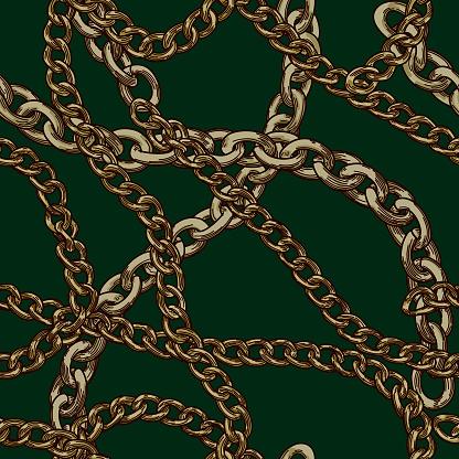 80s 90s Retro Baroque Gold Chain Pattern