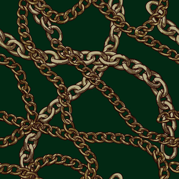 80s 90s Retro Baroque Gold Chain Pattern vector art illustration