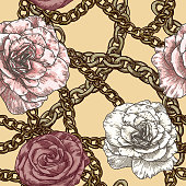 A fancy retro late 80s early 90s vintage baroque chain pattern with poofy roses.