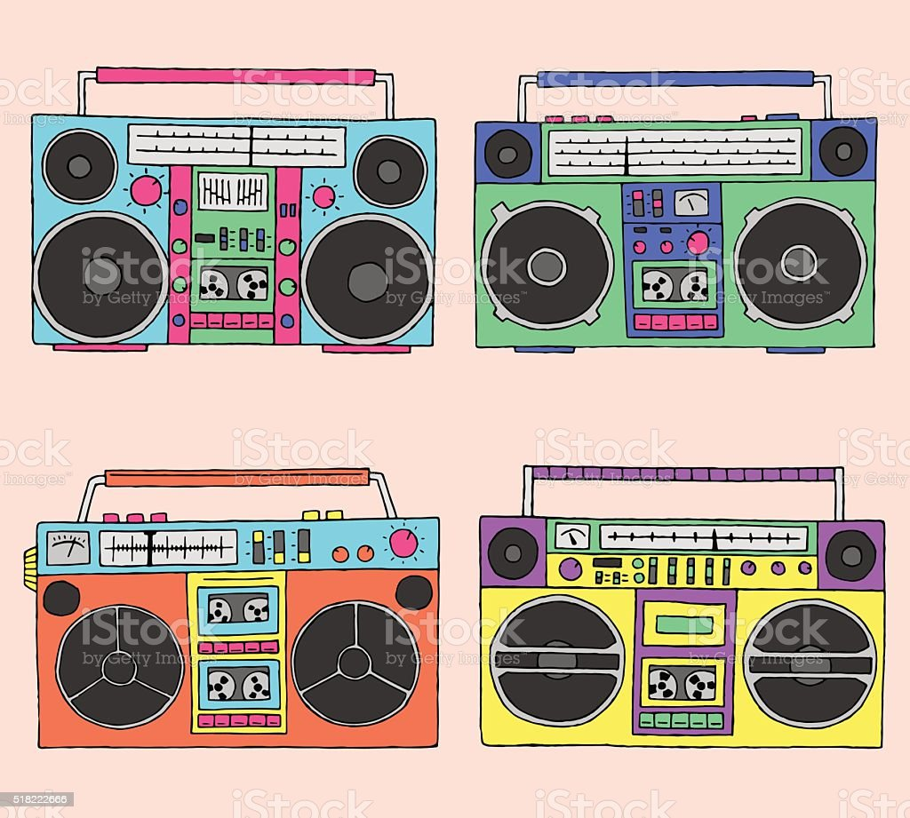 80s boomboxes vector art illustration