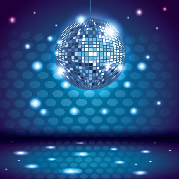 80s disco interior scenery 80s disco interior scenery with ball and lights vector illustration graphic design disco dancing stock illustrations