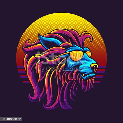 istock 80s lion head vector illustration 1248868372