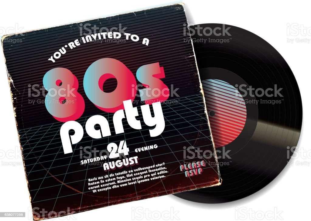80s Party Invitation Design Template On Worn Record Sleeve Stock ...