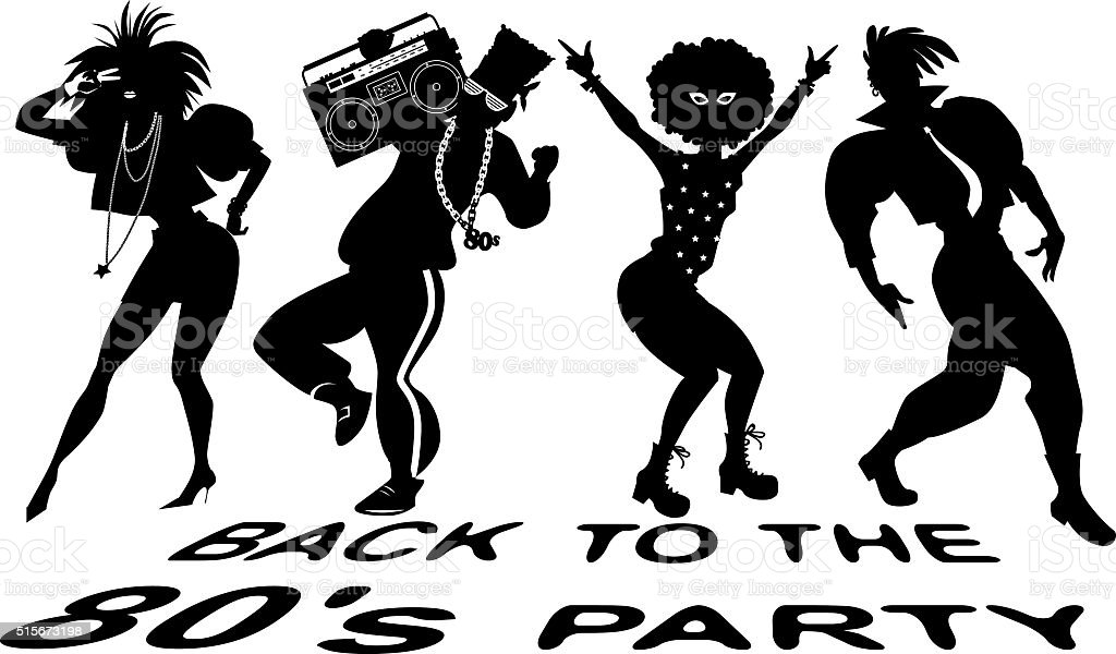 80s party silhouette vector art illustration