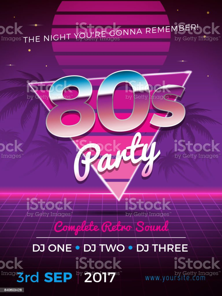 80s Party vector art illustration