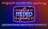 80s, retro alphabet font banner or cover. Old style vector poster. Disco fluorescent neon style for eighties party. 1980 fashion background easy editable template