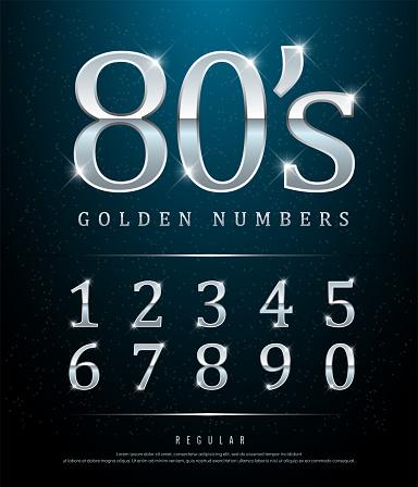 80s Retro Elegant Numbers Silver Colored Metal Chrome ...