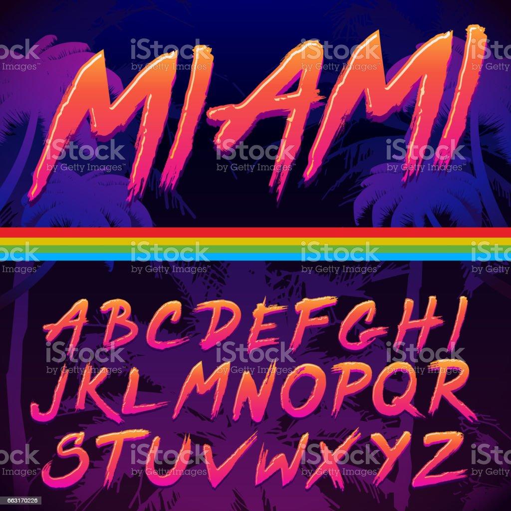 80s Retro Futurism style Font. Vector Brush Stroke Alphabet vector art illustration