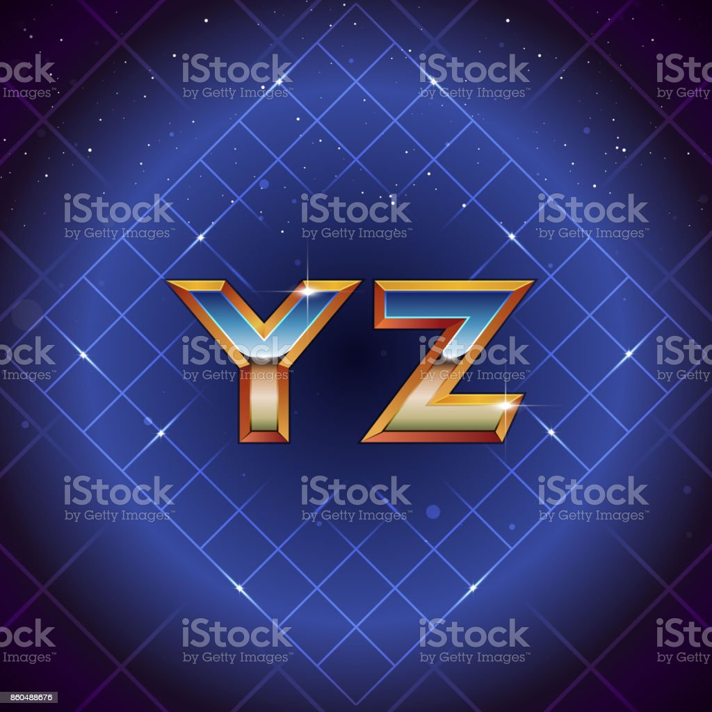 80s Retro Futuristic Font From Y To Z Vector Synth Wave Letters