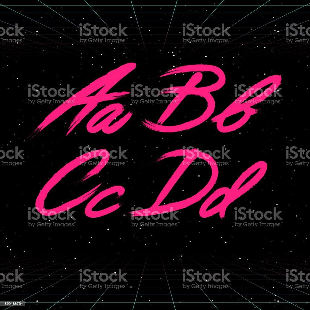 80 年代レトロな未来的なフォント。ベクター ブラシ ストロークのアルファベット。A から D への手紙 ベクターアートイラスト