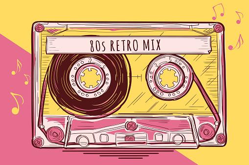 80s retro mix - funky colorful drawn music audio cassette
