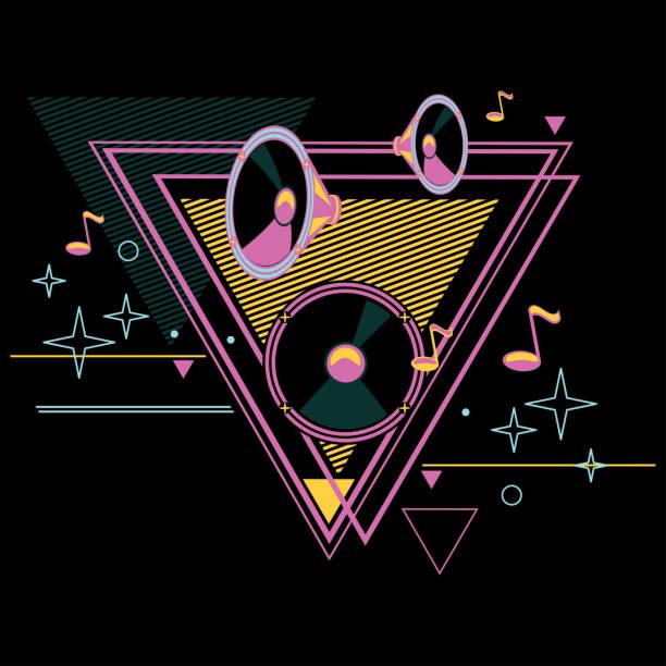 80s retro music poster design decorative vector artwork dance music stock illustrations