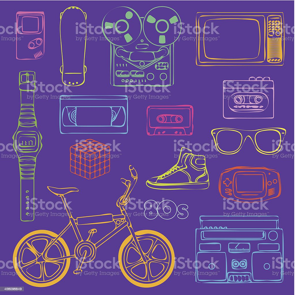 80s Retro objects outline 80s Retro lifestyle objects in funky color 1980-1989 stock vector