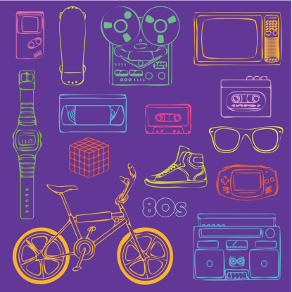80s Retro Objects Outline Stock Illustration - Download Image Now