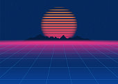 80s Retro Sci-Fi Background. Retro futuristic background, synth retro wave