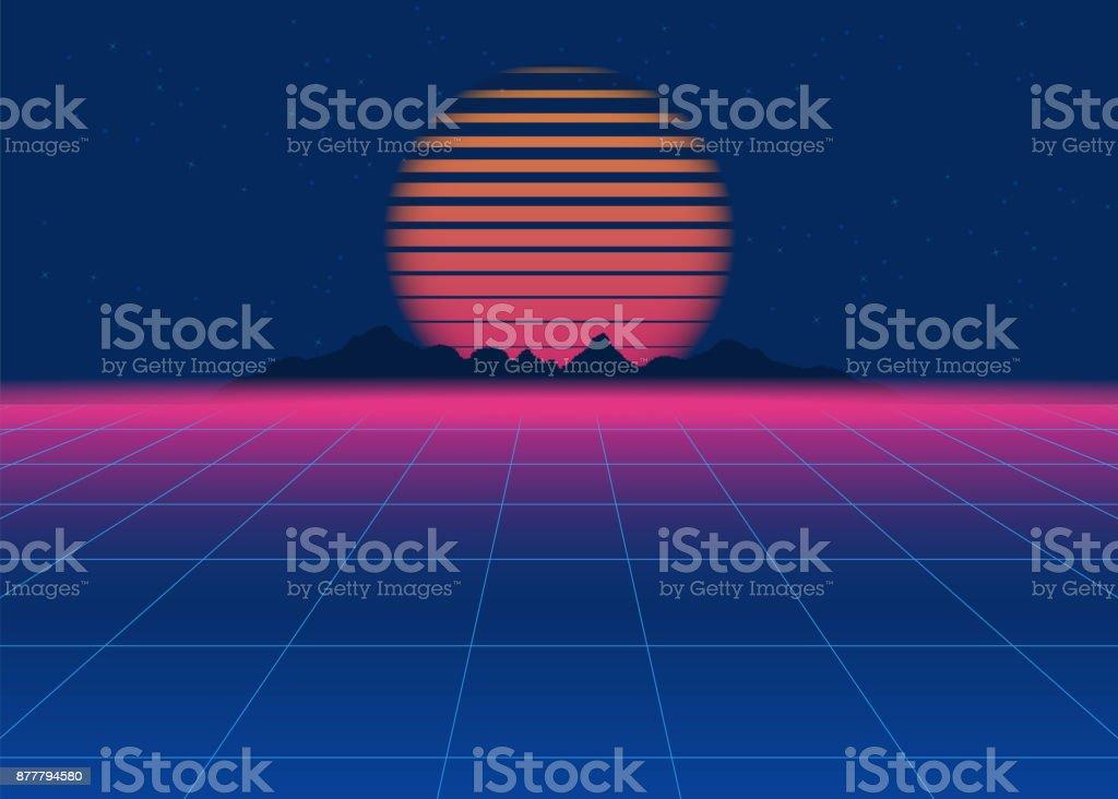 80s Retro Sci-Fi Background. Retro futuristic background, synth retro wave vector art illustration