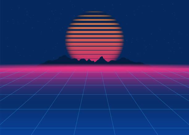 80s retro sci-fi background. retro futuristic background, synth retro wave - 1980s style stock illustrations, clip art, cartoons, & icons