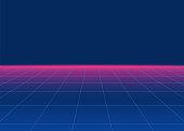 80s Retro Sci-Fi Background. Retro futuristic background, synth retro wave and grid. Disco background template. Vector