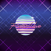 80s Retro Sci-Fi Background. Vector futuristic synth retro wave illustration in 1980s posters style. Suitable for any print design in 80s style