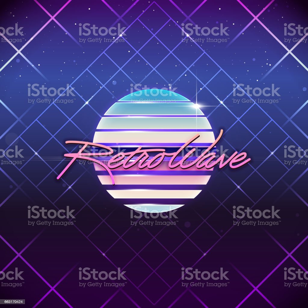 80s Retro Sci-Fi Background. Vector futuristic synth retro wave illustration in 1980s posters style. Suitable for any print design in 80s style vector art illustration