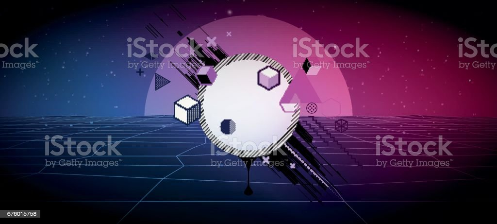 80s Retro Sci-Fi Background Vector futuristic synth retro wave illustration in 1980s posters style.  Vector Illustation, vector art illustration