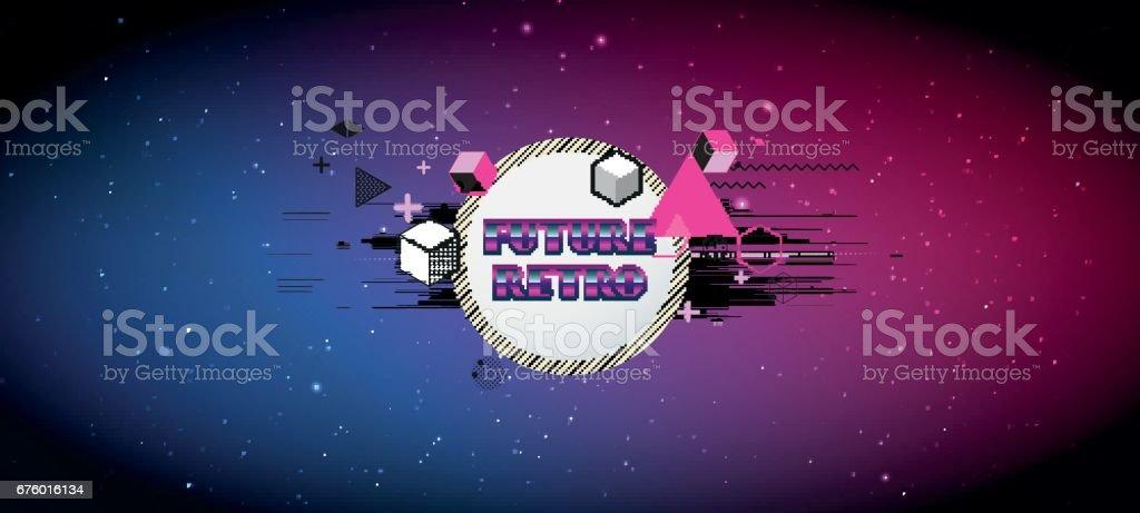 80s Retro Scifi Background Vector Futuristic Synth Retro