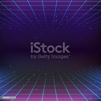 istock 80s Retro Sci-Fi Background 468881510