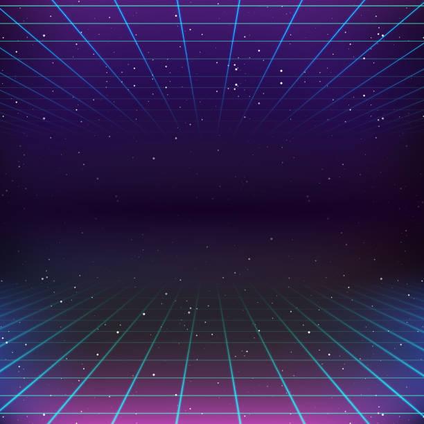 80s Retro Sci-Fi Background 80s Retro Sci-Fi Background leisure games stock illustrations