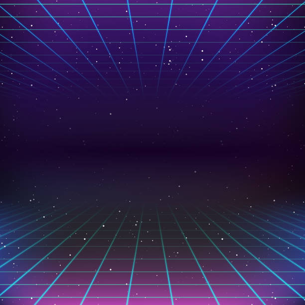 80s Retro Sci-Fi Background vector art illustration