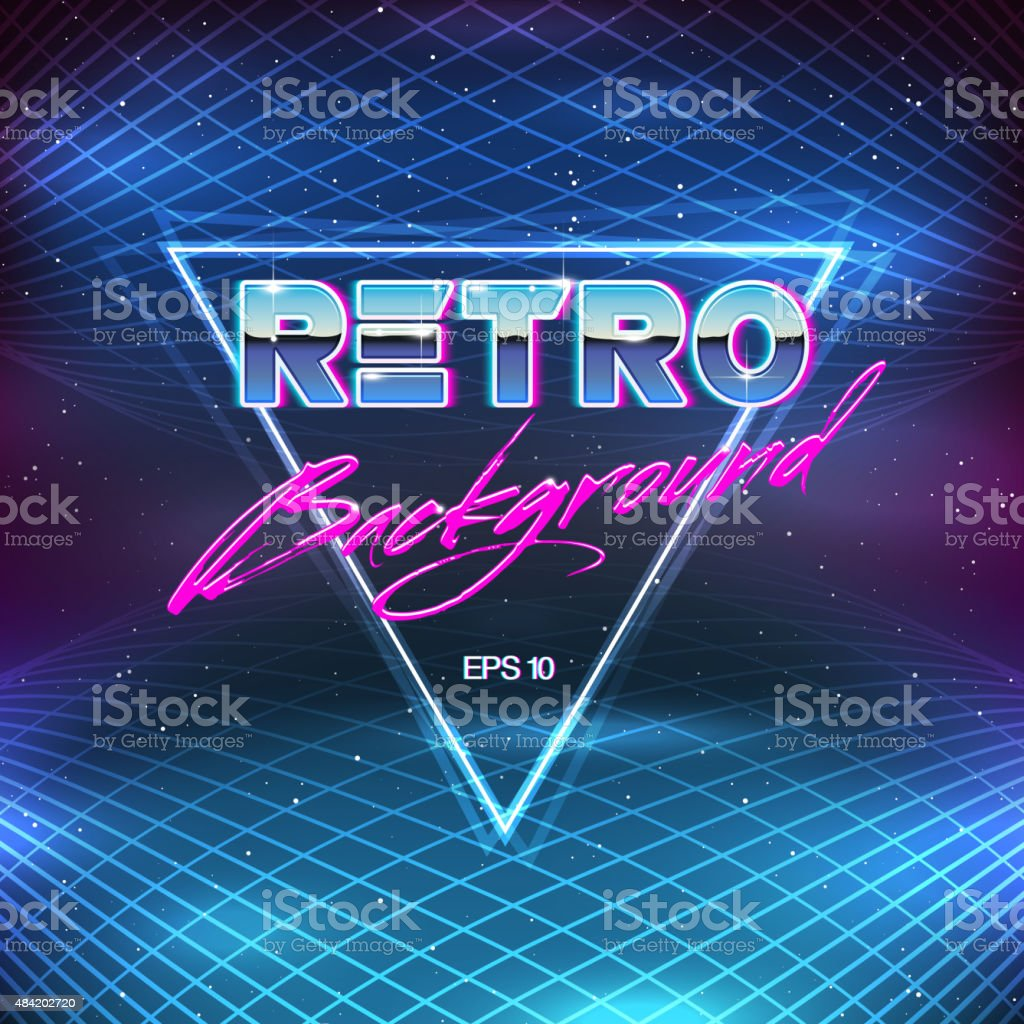 80s Retro Sci-Fi Background vector art illustration