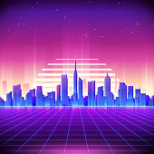 80s Retro Sci-Fi Background with Neon City