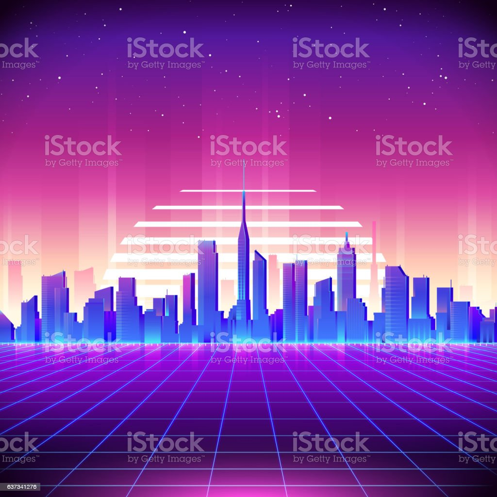 80s Retro Sci-Fi Background with Neon City vector art illustration