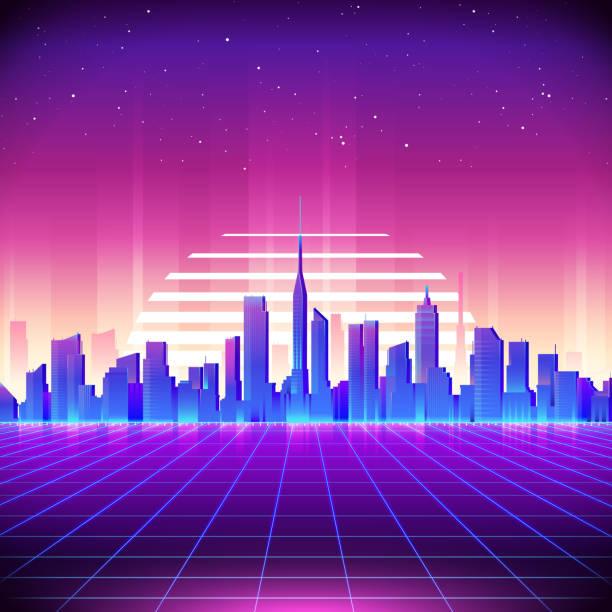 illustrations, cliparts, dessins animés et icônes de 80s retro sci-fi background with neon city - mode urbaine