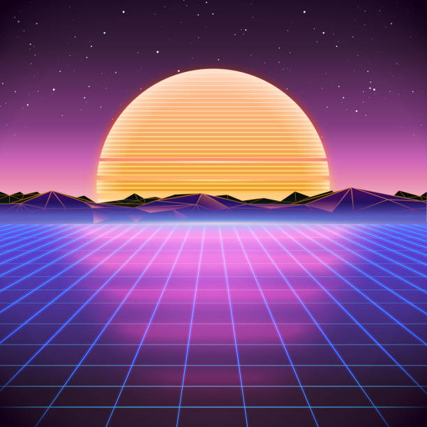80s retro sci-fi background with sunset - 1980s style stock illustrations, clip art, cartoons, & icons