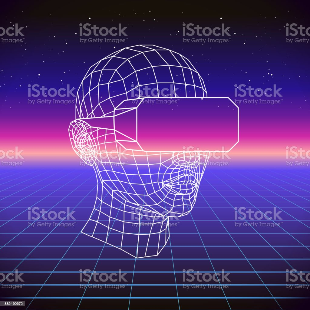 80s Retro Sci-Fi Background with VR Headset. Vector futuristic synth retro wave illustration in 1980s posters style. Suitable for any print design in 80s style