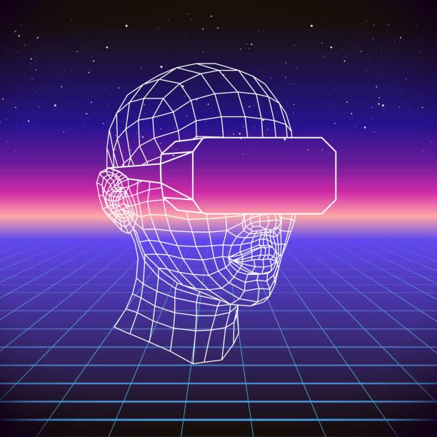 80er Jahre Retro-Sci-Fi Hintergrund mit VR-Kopfhörer. Futuristische Synthesizer Retrowelle Vektorgrafik im Stil der 1980er Jahre Plakate. Geeignet für alle print-Design im 80er Jahre Stil – Vektorgrafik