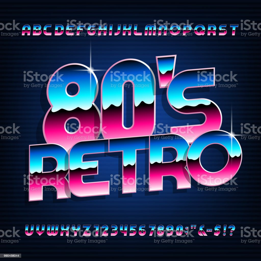 80s Retro Style Alphabet Font Metallic Effect Shiny Letters And Numbers  Stock Illustration - Download Image Now