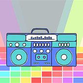 80s retro style. Vintage retro 80's vector boombox.