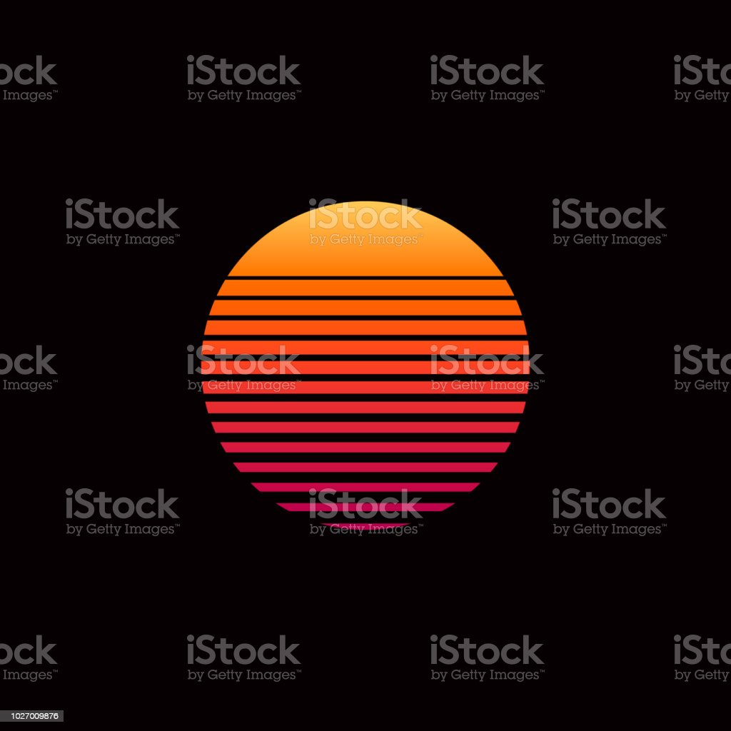 80s retro sunset vector illustration vector art illustration