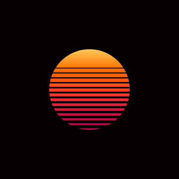 80s retro sunset vector illustration - zachód słońca stock illustrations