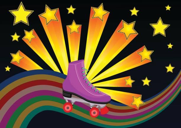 80er jahre rollschuhe mit starburst - rollschuh stock-grafiken, -clipart, -cartoons und -symbole